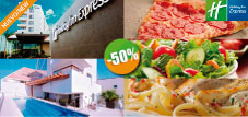 Holiday Inn Express - $180 pesos instead of $360 for 1 DayPass + Chicken Fettuccine Alfredo or 2 Slices of Pizza or 1 Salad of your choice